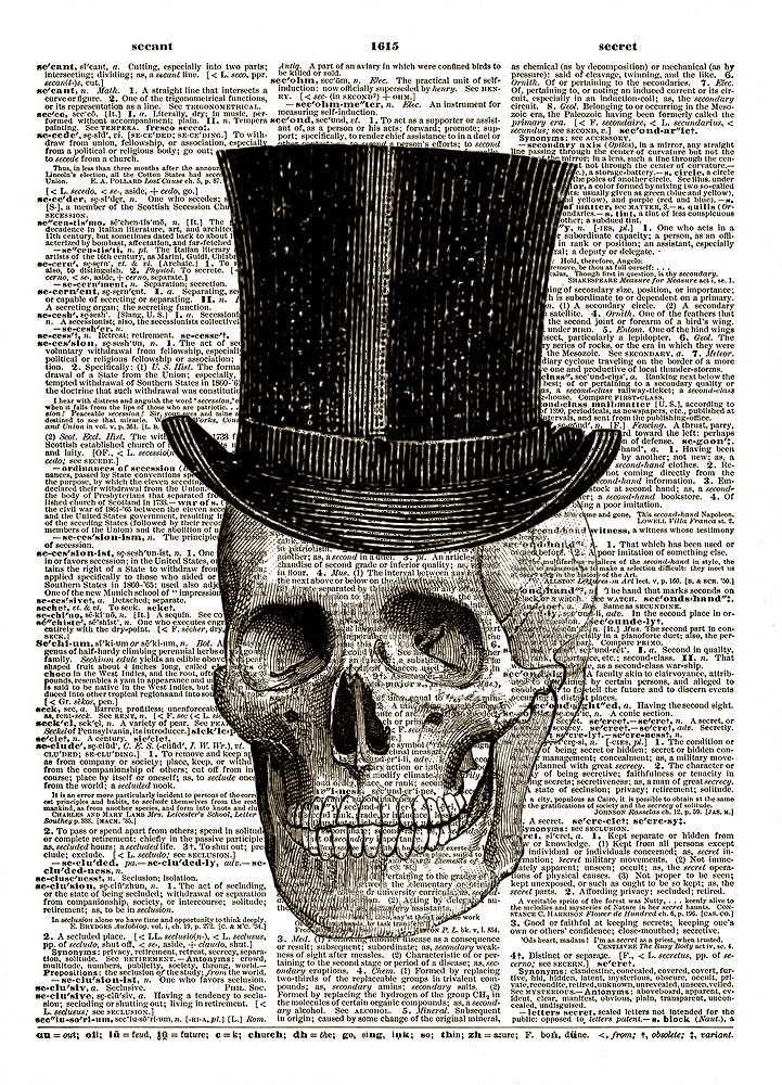 HUMAN SKULL w/ Top Hat Black for Halloween Vintage Dictionary Art Print No. 0022
