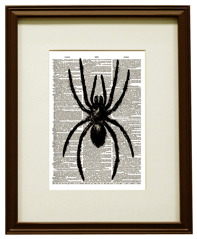 SPIDER Creepy Insect Halloween Upcycled Vintage Dictionary Art Print No. 0018