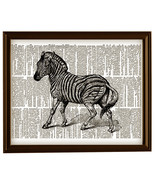 ZEBRA Zoo African Animal Upcycled Vintage Dictionary Art Print No. 0017 - $12.00