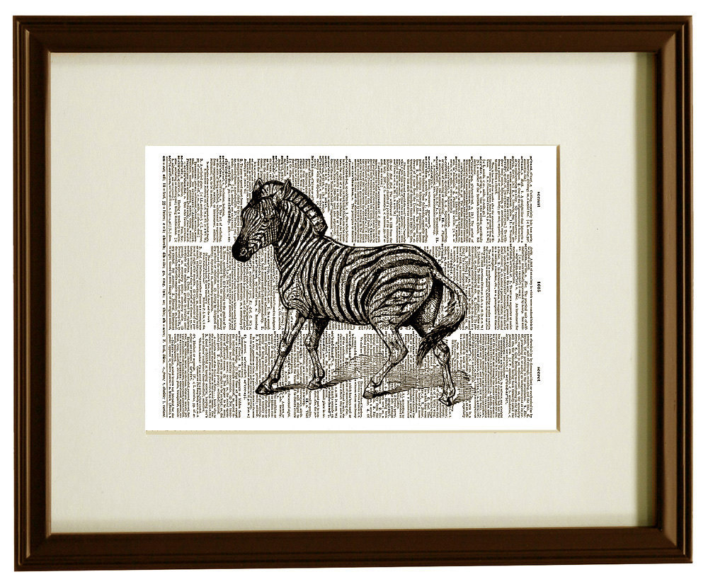 ZEBRA Zoo African Animal Upcycled Vintage Dictionary Art Print No. 0017