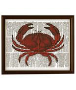 Red CRAB Beach Ocean Animal Vintage Dictionary Art Print No. 0011 - $12.00