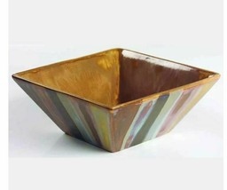 York Tabletops Unlimited 2 Soup/Cereal Bowls Handpainted Multicolor Stri... - $14.20