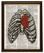 RED HEART in Human Thorax Diagram Upcycled Vintage Dictionary Art Print ... - $12.00