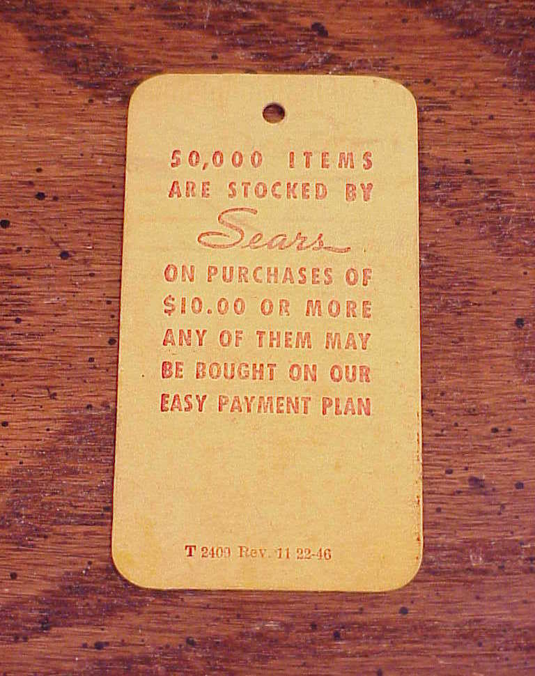Old Sears and Roebuck Cardboard Stock Price Tag, no. T 2409 Rev. 11 22-46