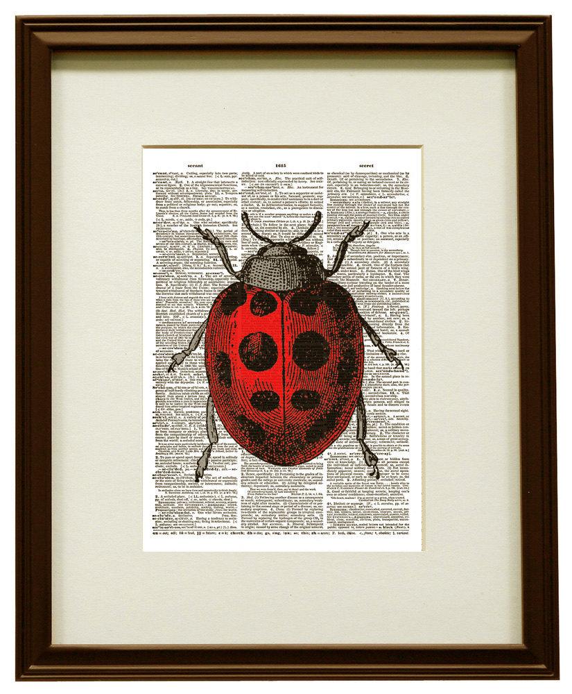 Pretty LADYBUG Red & Black Beetle Upcycled Vintage Dictionary Art Print No. 0003