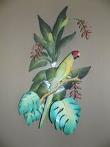"Large Parrot Wall Hanging  Metal   31 x 23"" Coastal Decor - $38.38"