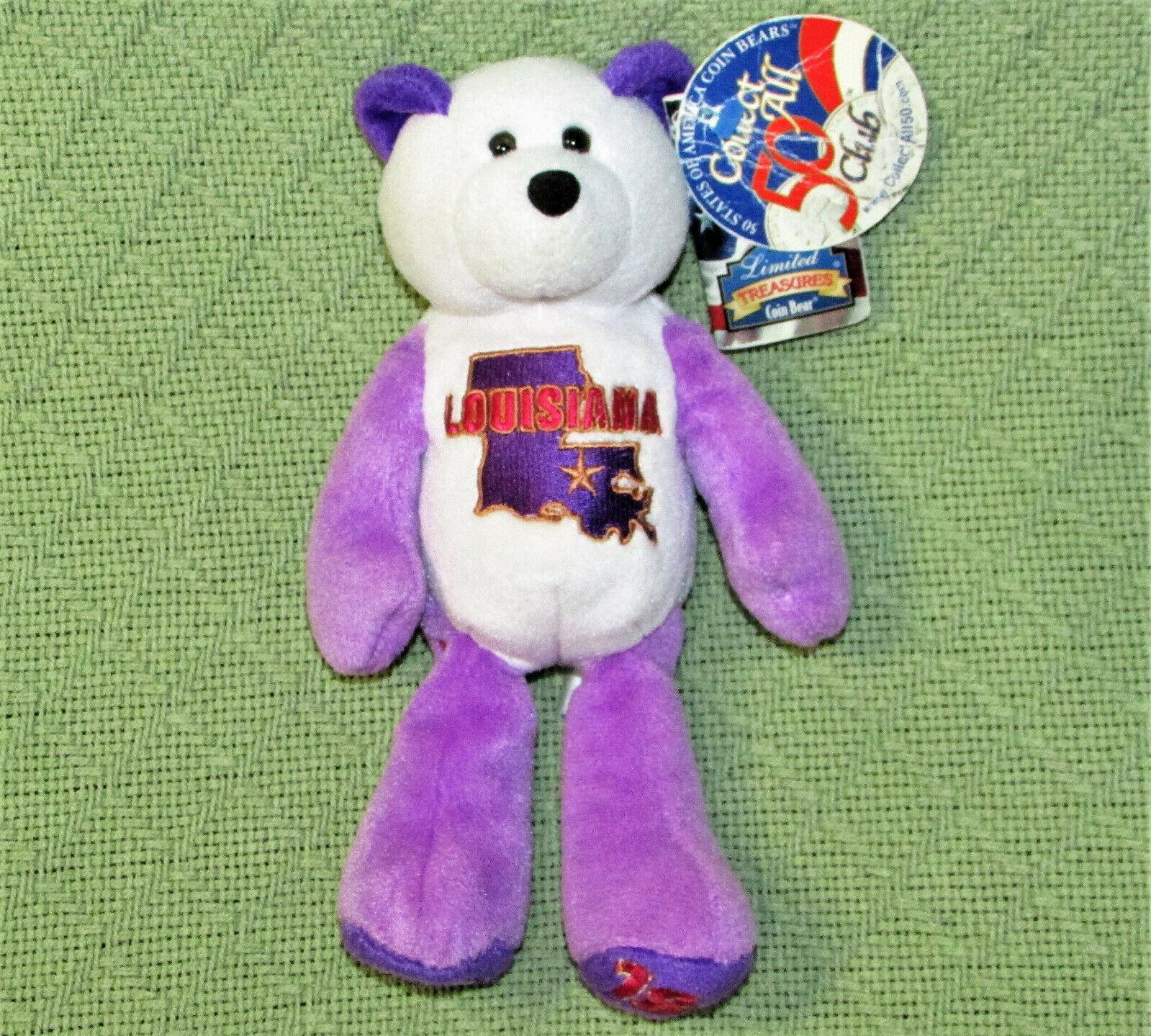"""LIMITED TREASURES COIN BEAR LOUISIANA TEDDY BEANBAG STUFFED ANIMAL WITH TAGS 8"""" - $9.90"""