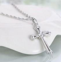 925 sterling silver Romantic Cross Pendant Necklace [PEN-56] - $13.86