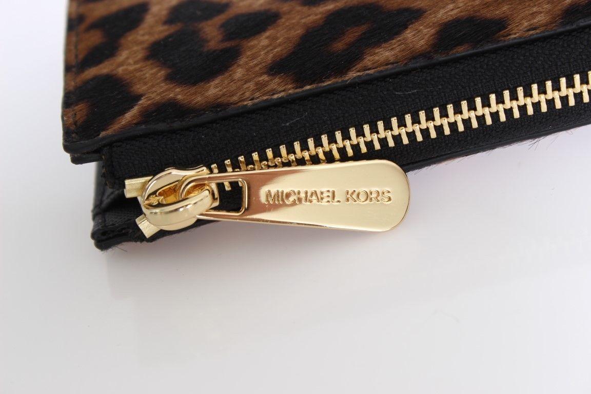 6b3e184b51f746 ... Michael Kors MK Cheetah BEDFORD Haircalf Wallet Purse Zip Around ...