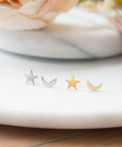 Moon Star Stud Earrings, Gold Moon and Star Studs, Asymmetrical Earrings, Korean - $10.00