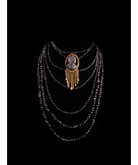 Antique Cameo tassel Brooch - Victorian Black glass 7 strand Choker - Vi... - $325.00