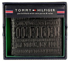 Tommy Hilfiger Men's Premium Leather Coin Wallet Yen Billfold Black 5647/01