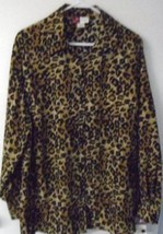 WOMEN'S BLOUSE BUTTON DOWN Plus 20W Beige Black Tan Long Sleeves Leopard... - $18.69