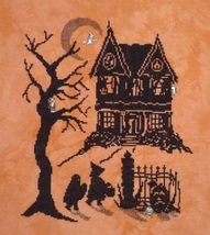 Halloween Silhouette Scary Night 2 with 4 Charms cross stitch chart Handblessing - $12.15