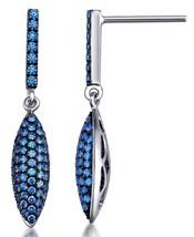 Sterling Silver 925 Dangle Earrings Pave Setting Blue Swarovski Zirconia Stones image 2