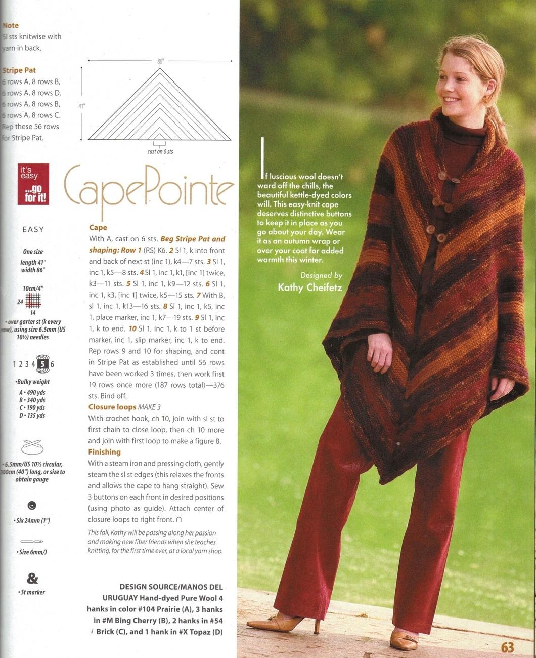 Knitters #76 Fall 2004 Boho Jackets Poncho Kimono Hats Scarf Knitting Pa...