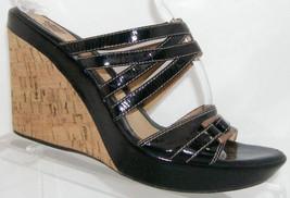 Sofft black patent leather slip on buckle slip on cork platform wedge heels 7.5M - $33.34