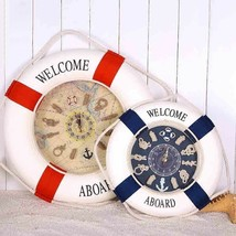 Welcome Aboard Lifebuoy Wall Clock Mediterranean Wood Cloth Living Room ... - $35.22+