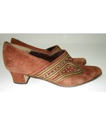 Italian Armando Brown Suede Leather Heels Shoes Size 6.5 37.5 Gold Stitc... - $28.35