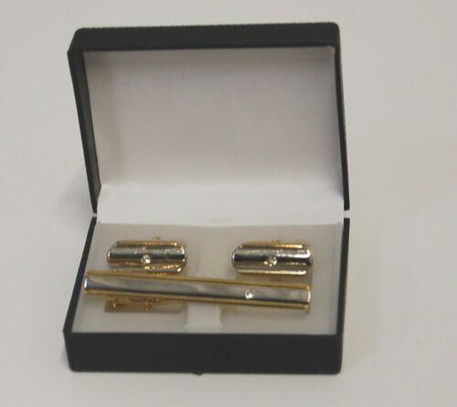Tie Clip Cuff Link Set Silver Gold Accents Single Clear Rhinestone