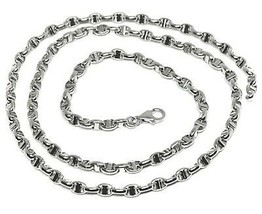 "18K WHITE GOLD CHAIN SAILOR'S NAUTICAL NAVY MARINER BIG OVAL 4mm LINK, 20"" 50cm image 1"