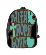 Faith Hope Love Custom Leather Backpack - $29.99