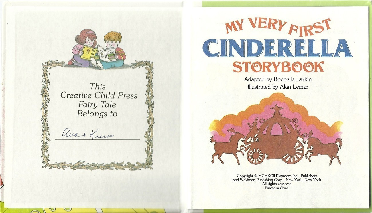 My Very First Cinderella Storybook Hardcover Book Rochelle Larkin