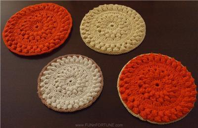 LOT Four VINTAGE Handmade CROCHET Round HOT PADS Picnic