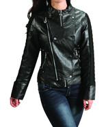 Womens Slim Motocycle Black Biker Jacket Zipper - €22,91 EUR