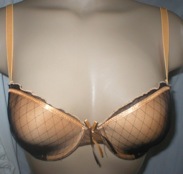 Fredericks of Hollywood Orange & Black contour bra 34C NEW