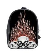 Flaming Skulls Custom Leather Backpack - $29.99