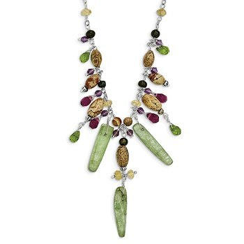Primary image for Lex & Lu Sterling Silver Citrine/Amethyst/Peridot/Kyanite/Jasper Necklace 16""