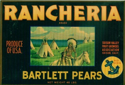 RANCHERIA BRAND: Bartlett Pears Crate  Label Sign - FRAMED WITH GLASS