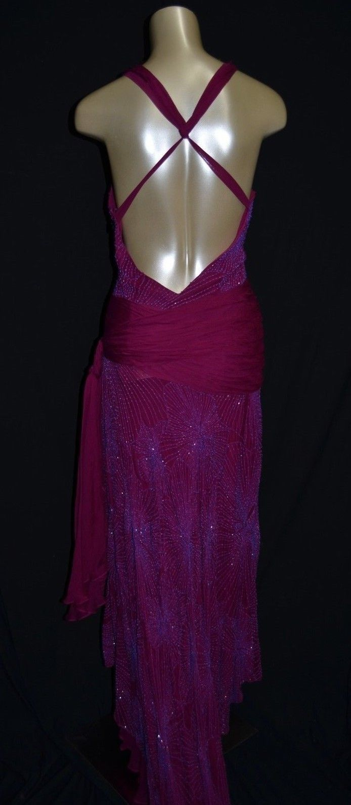 BCBG Max Azaria ATELIER  open back beaded gown dress plumb (A6)