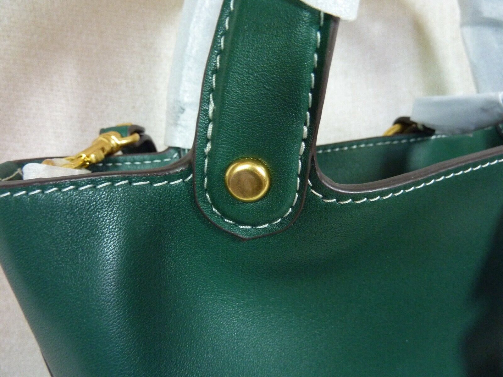 NWT Tory Burch Malachite Green Miller Bucket Tote image 10
