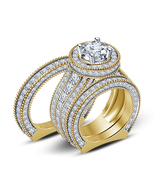 His & Her Diamond Band & Her Engagement Ring 14k Gold Finish 925 Sterlin... - £119.08 GBP