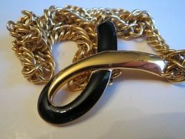 VTG 1980s Signed Monet Heavy Gold & Black Enamel Ribbon Twist Necklace Choker - $14.55