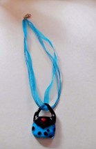 Teal and black Murano glass purse handbag pendant on a ribbon necklace - $6.95