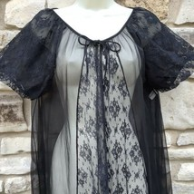 Kayser Peignoir Robe Sz M Black Nylon Long Sheer Chiffon Lace Short Puff... - $59.99