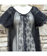 Kayser Peignoir Robe Sz M Black Nylon Long Sheer Chiffon Lace Short Puff Sleeves - £47.10 GBP