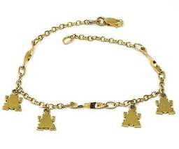 SOLID 18K YELLOW GOLD BRACELET, 4 PENDANTS, FLAT FROG, SPIRAL, ROLO CHAIN image 1