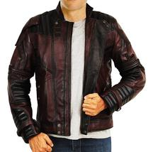 Guardians Galaxy Vol 2 Star Lord Chris Biker Peter Quill Maroon Leather Jacket image 2