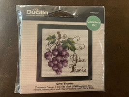 Bucilla Beginner Counted Cross Stitch Kit 2.5x2.5 Give Thanks WM45687 New Nip - $4.99