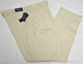 Polo Ralph Lauren Pants Men 48x34 Big Classic Pleated Chino Stone 48Bx34 P418 - $49.95