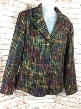 Coldwater Creek Womens Sz Large Black Rainbow Tweed Blazer Fully Lined Jacket - $29.95