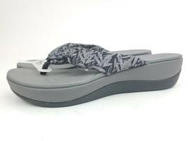 Clarks Cloud Steppers Black Floral Fabric Arla Glison Thong Slide Sandal... - $49.95
