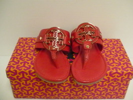 Womens tory burch slippers carnival amanda flat thong tumbled leather si... - $188.05