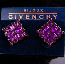 Vintage Givenchy earrings - Purple & garnet - Bijoux Couture Designer je... - $95.00
