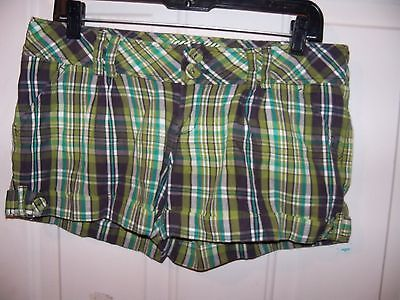 Primary image for HURLEY Surf Classic Short surf shorts Green Plaid Size 7 Women's EUC