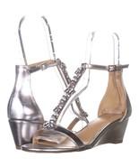 Jewel Badgley Mischka Darrell Ankle Strap Wedge Sandals 531, Silver Meta... - $33.59